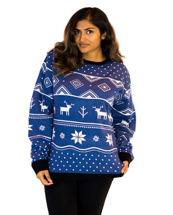 blue ugly christmas sweater woman